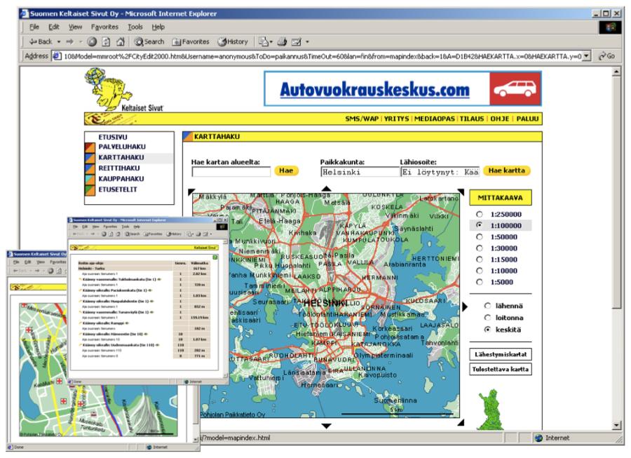 Keltaisten Sivujen karttapalvelu 1998