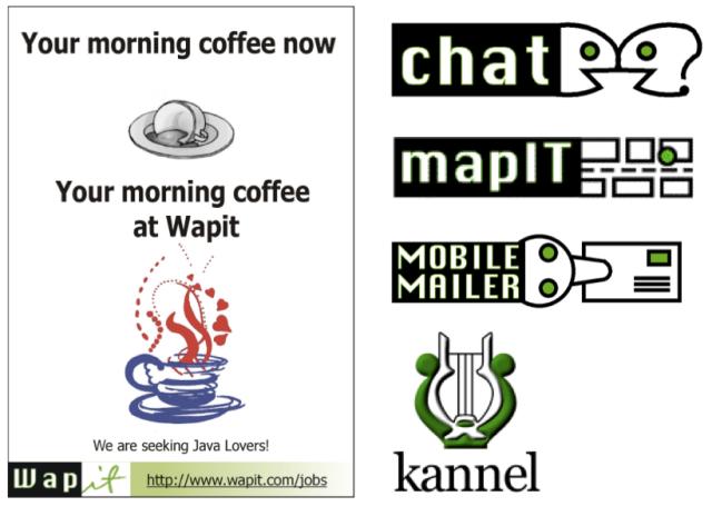 Wapitin rekryilmoitus ja logoja 1999